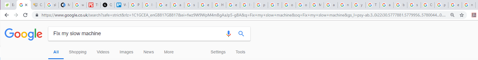Too many tabs open in browser